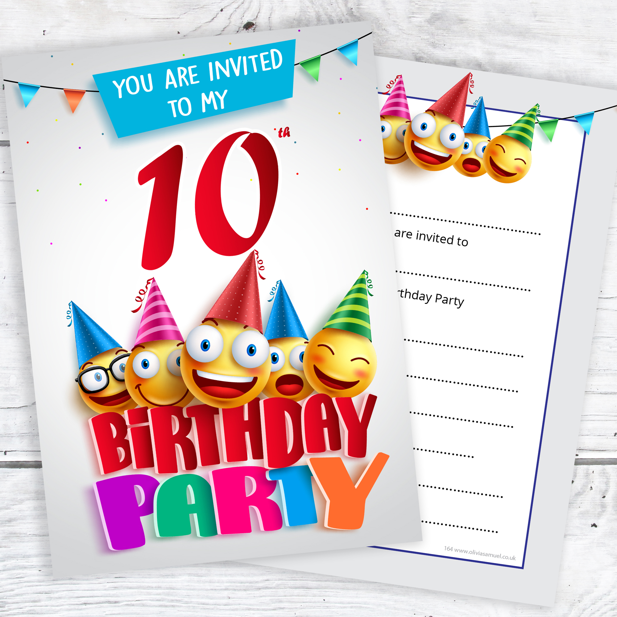 10th birthday party invites emoji style ready to write with