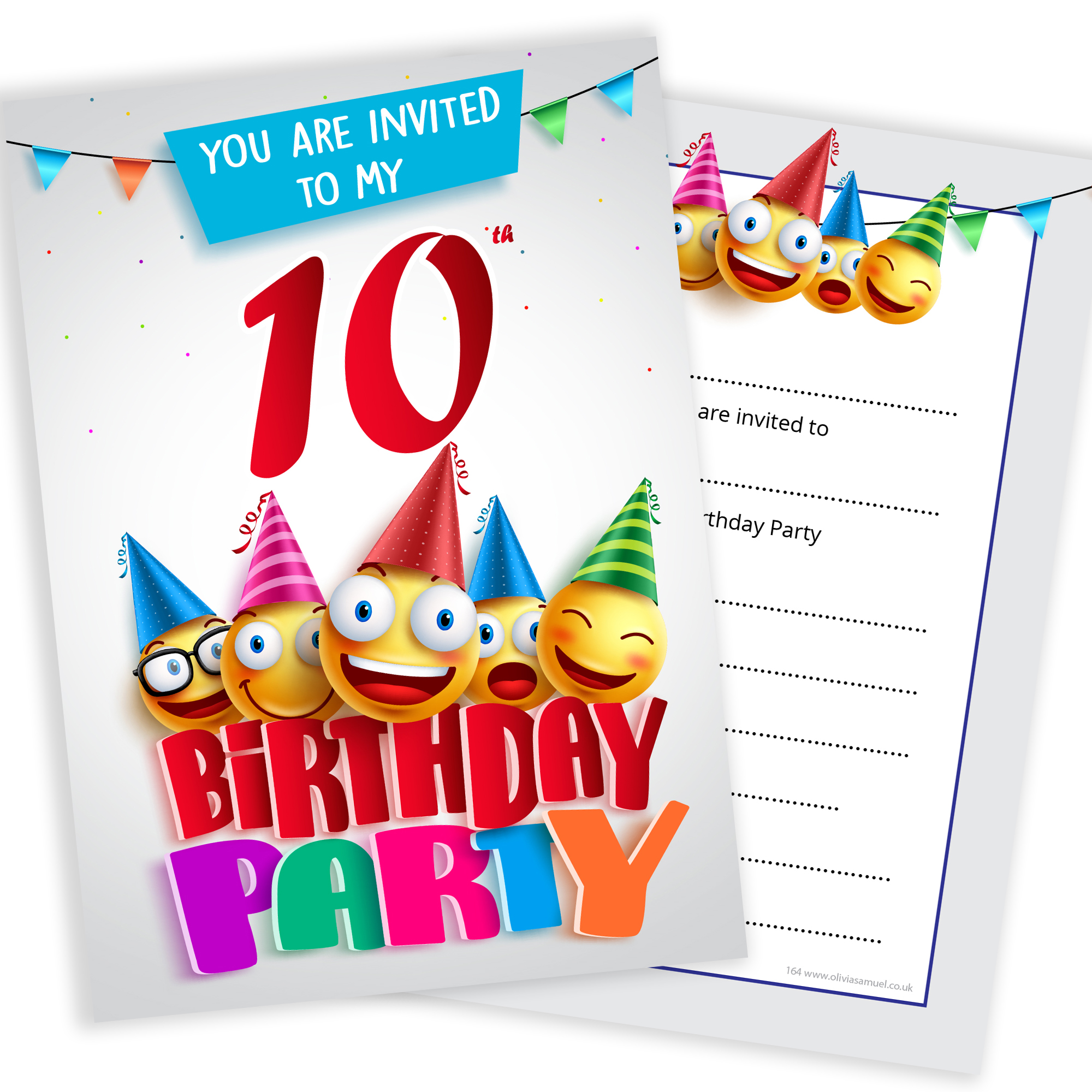 10th Birthday Party Invites Emoji Style Ready To Write