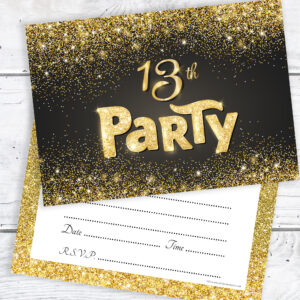 13th Birthday Party Invitations Black and Gold