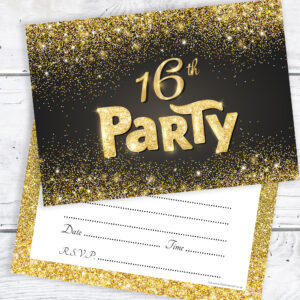 Black and Gold Effect 16th Birthday Party Invitations Ready to