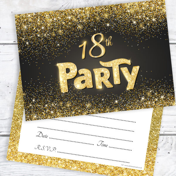 18th Birthday Party Invitations Black and Gold