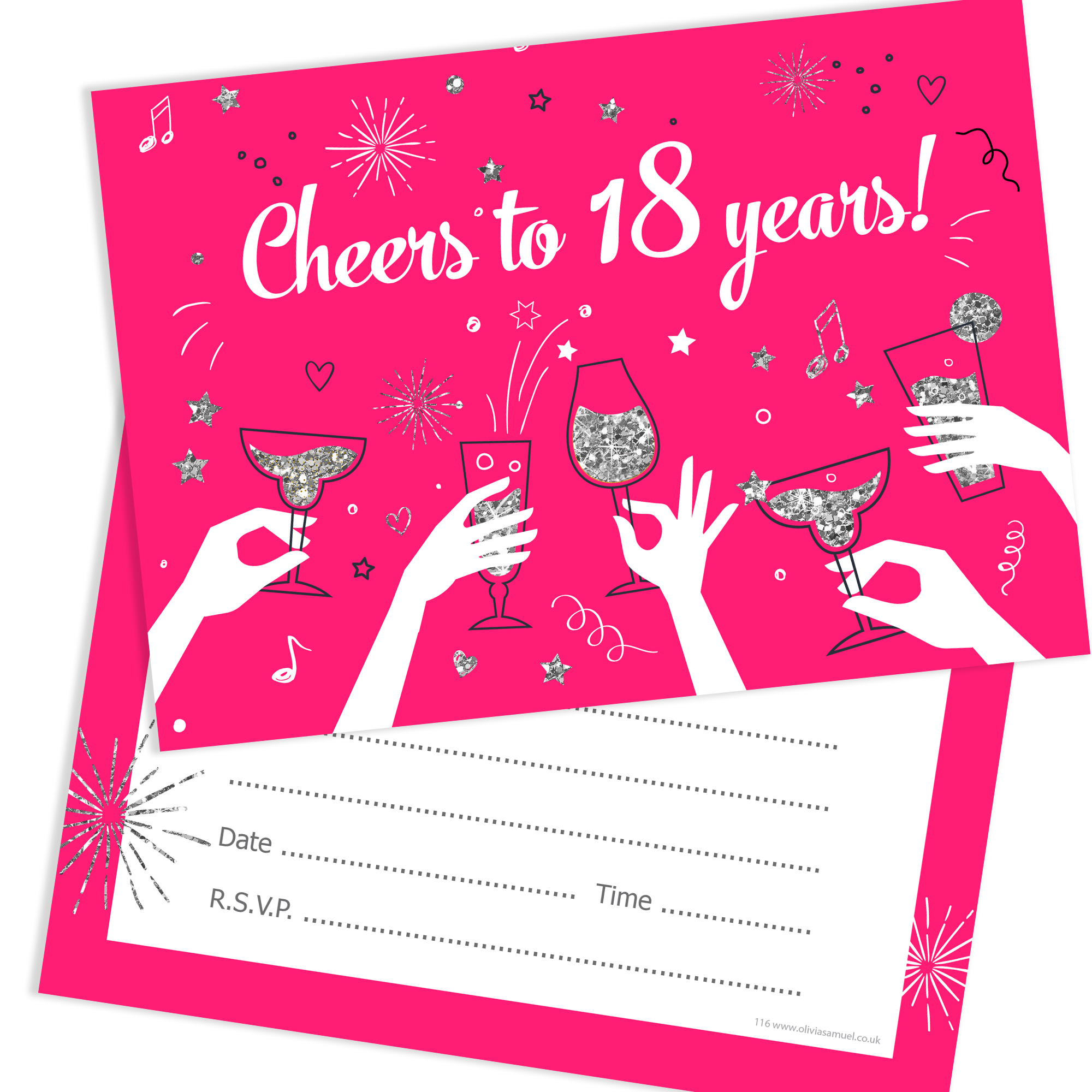 18th Birthday Party Invitations – Cheers to 18 years – Ladies (Pack ...