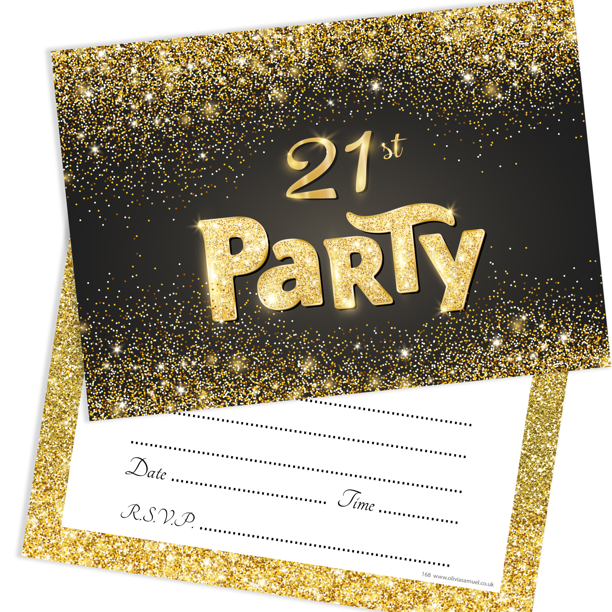 21st Birthday Party Invitations Black And Gold Home