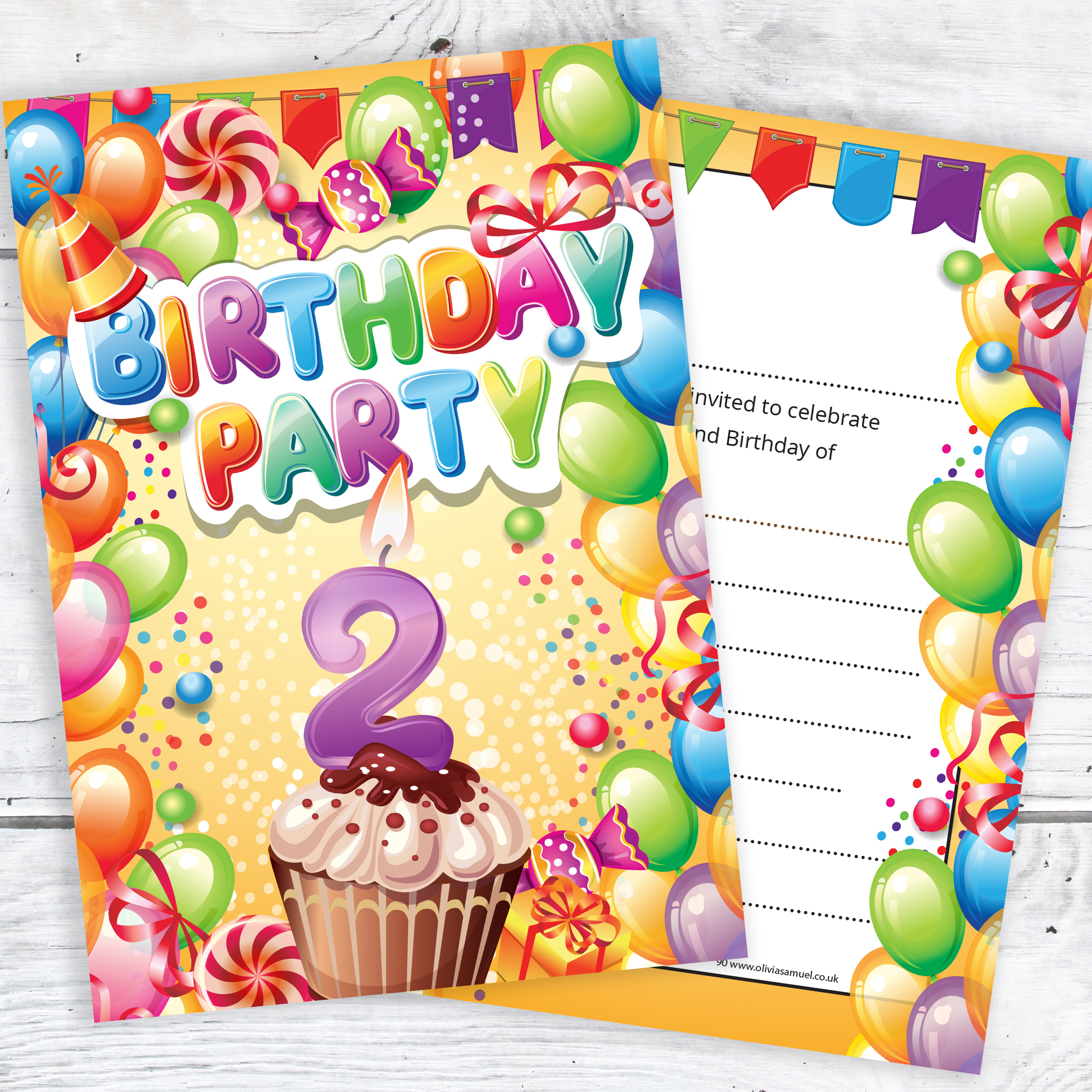 Childrens 2nd Birthday Party Invites Boy Or Girl Bright Fun Design Ready To Write With Envelopes Pack 10