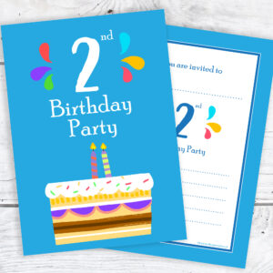 2nd Birthday Party Invitations 2 Candle Blue Cake Design With Envelopes Pack Of 10 Olivia Samuel