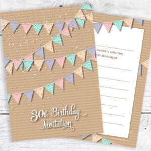 30th Birthday Invitations - Bunting Design - Ready to Write Invites
