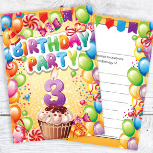 3rd Birthday Invitations - Boy or Girl - Ready to Write with Envelopes Pack of 10