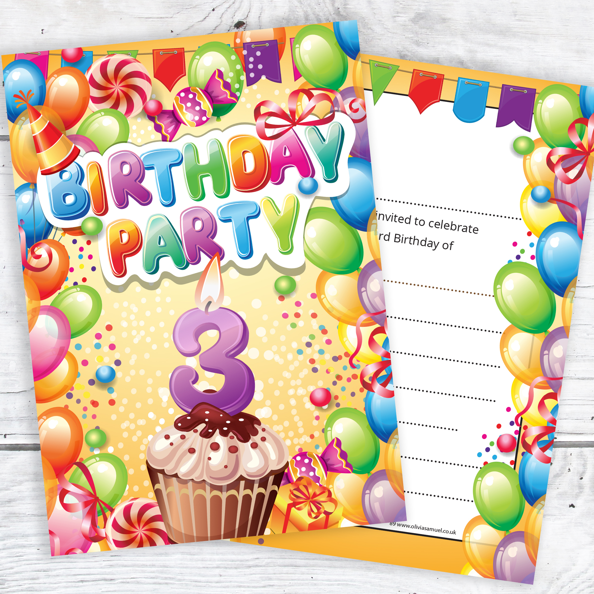 Children\'s 3rd Birthday Party Invites – Boy or Girl Bright Fun ...