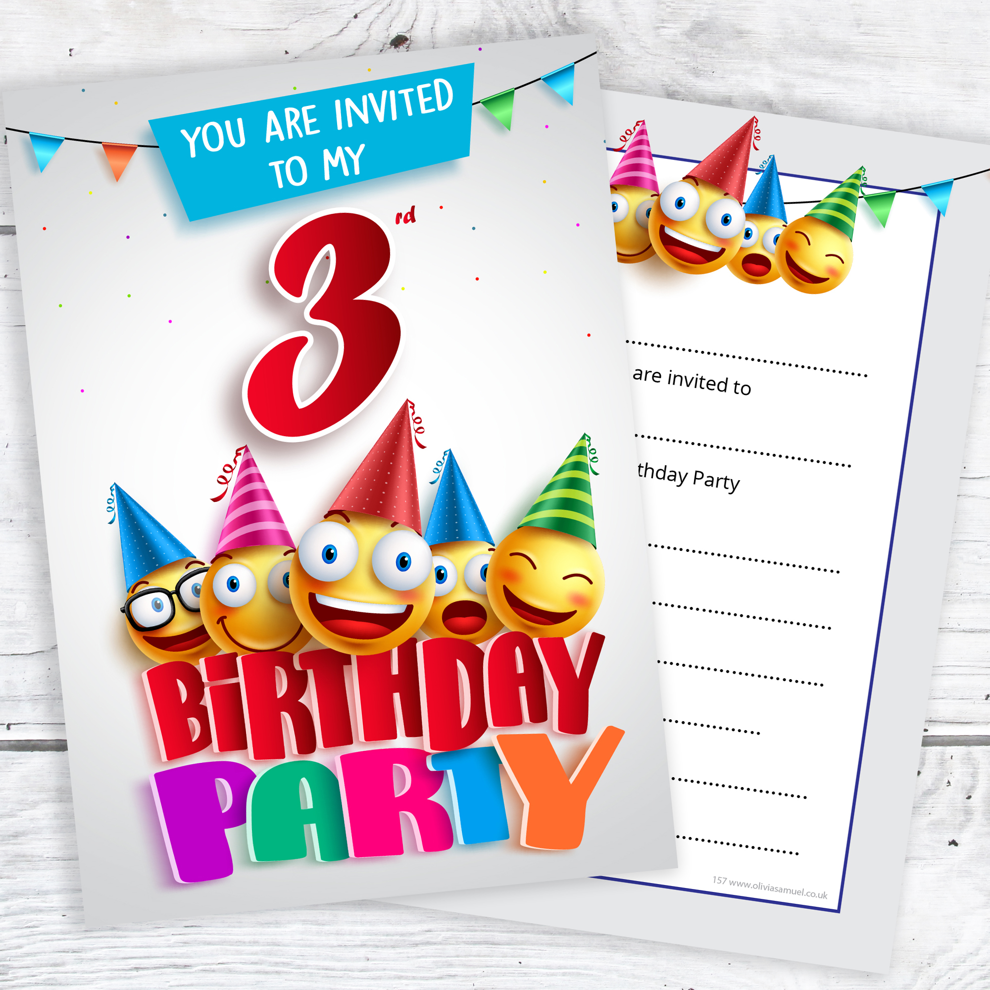 3rd Birthday Party Invites Emoji Style Ready to Write with