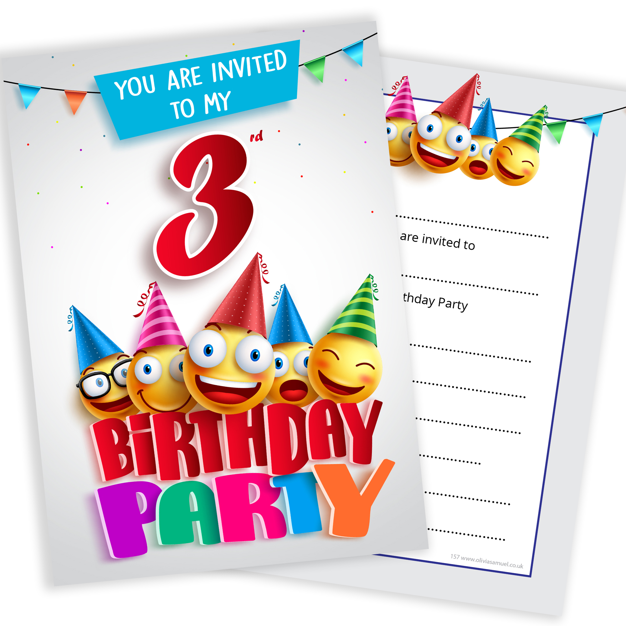 3rd birthday party invites emoji style ready to write with 3rd birthday party emoji party invitations home filmwisefo