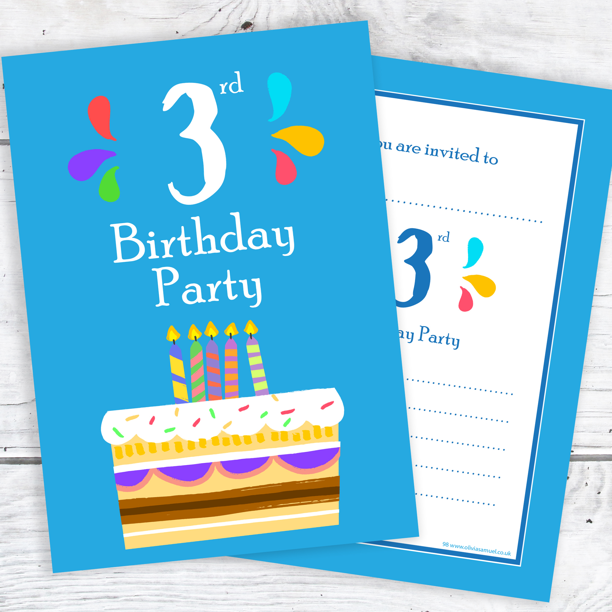 3rd Birthday Party Invitations 3 Candle Blue Cake Design With