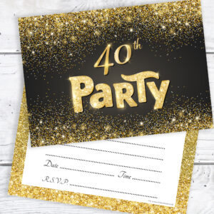 40th Birthday Party Invitations Black and Gold