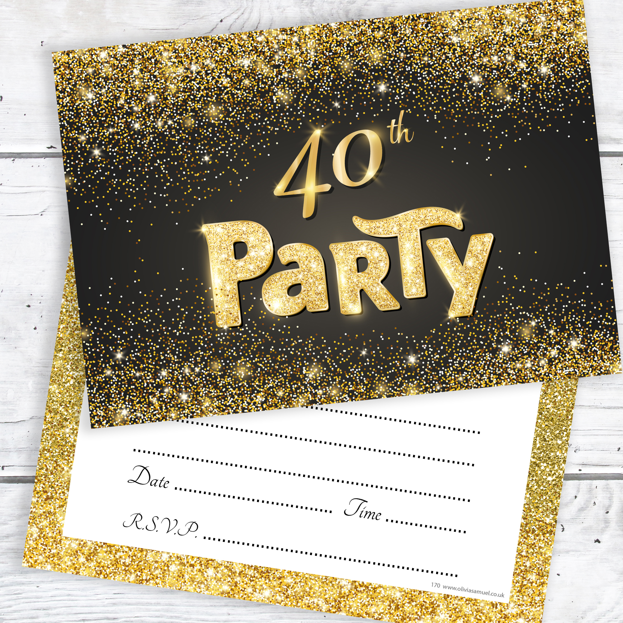 Black And Gold Effect 40th Birthday Party Invitations Ready To Write With Envelopes Pack 10