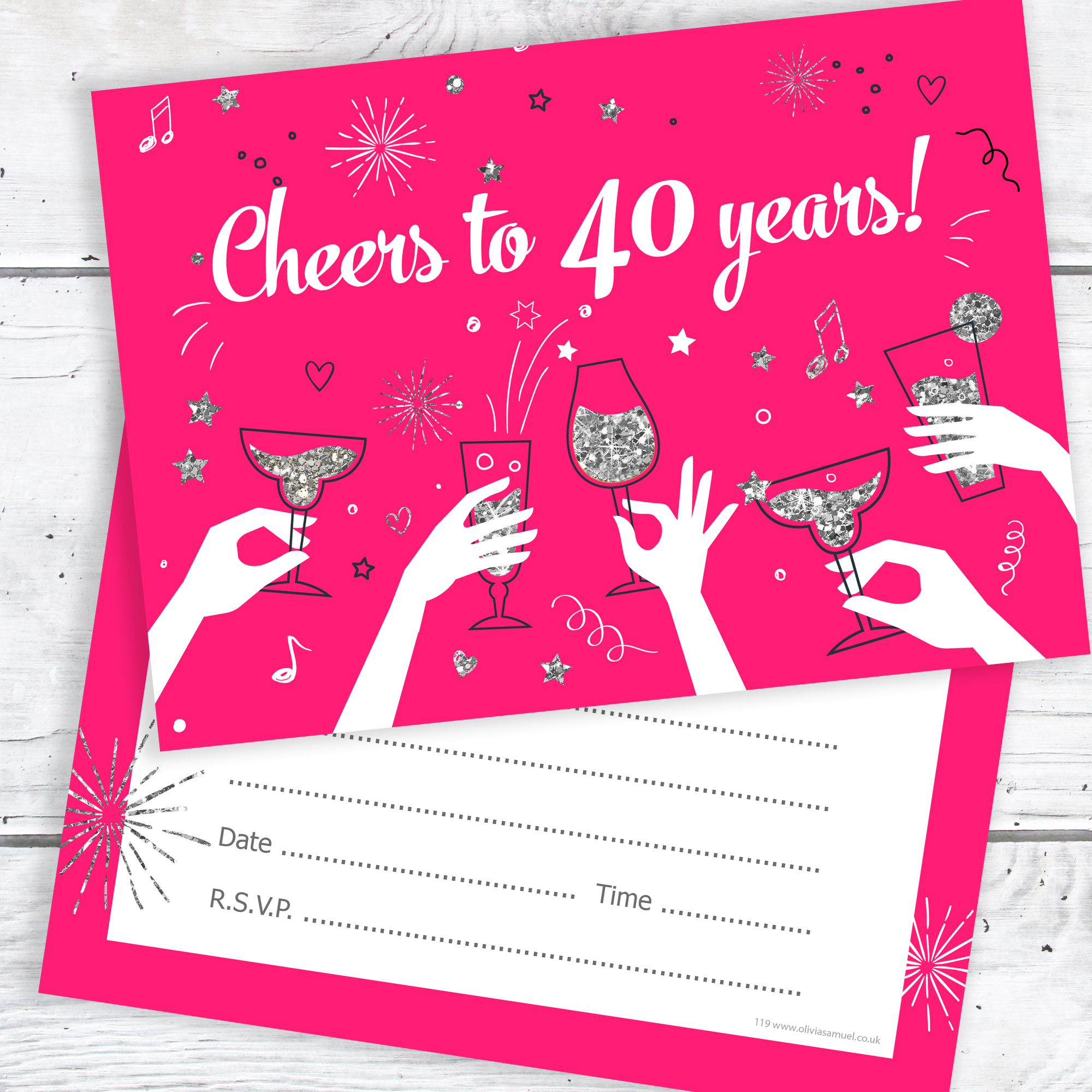 40th Birthday Party Invitations Ladies Pink And Silver Pack 10
