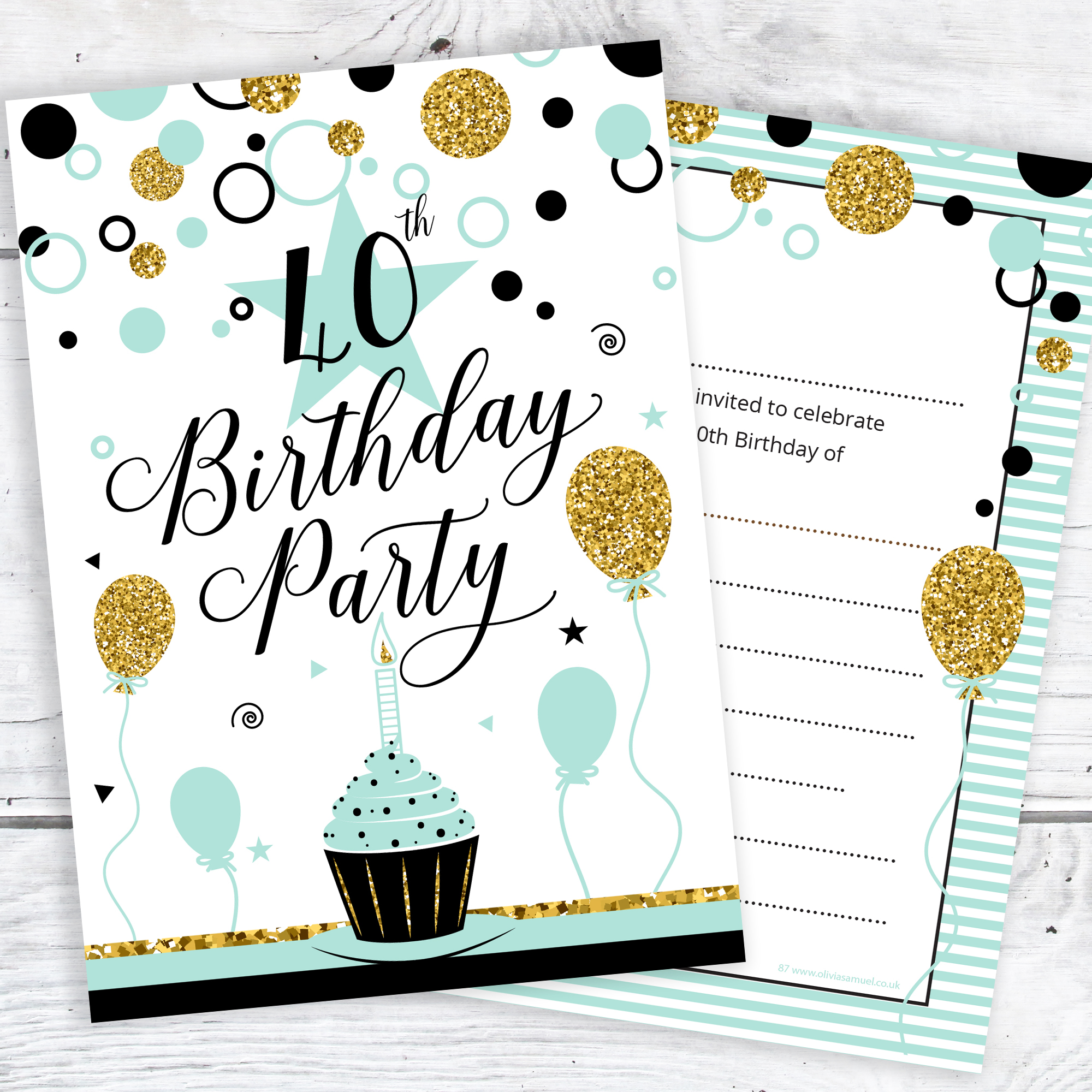 40th Birthday Party Invitations – Chic Design with Faux Glitter Effect – Ready to Write with Envelopes (Pack 10)