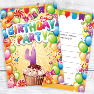 Home Invitations Birthday Kids Party 4th