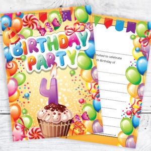 Childrens 4th birthday party invites boy or girl bright fun home invitations birthday kids party invitations 4th birthday invitations filmwisefo