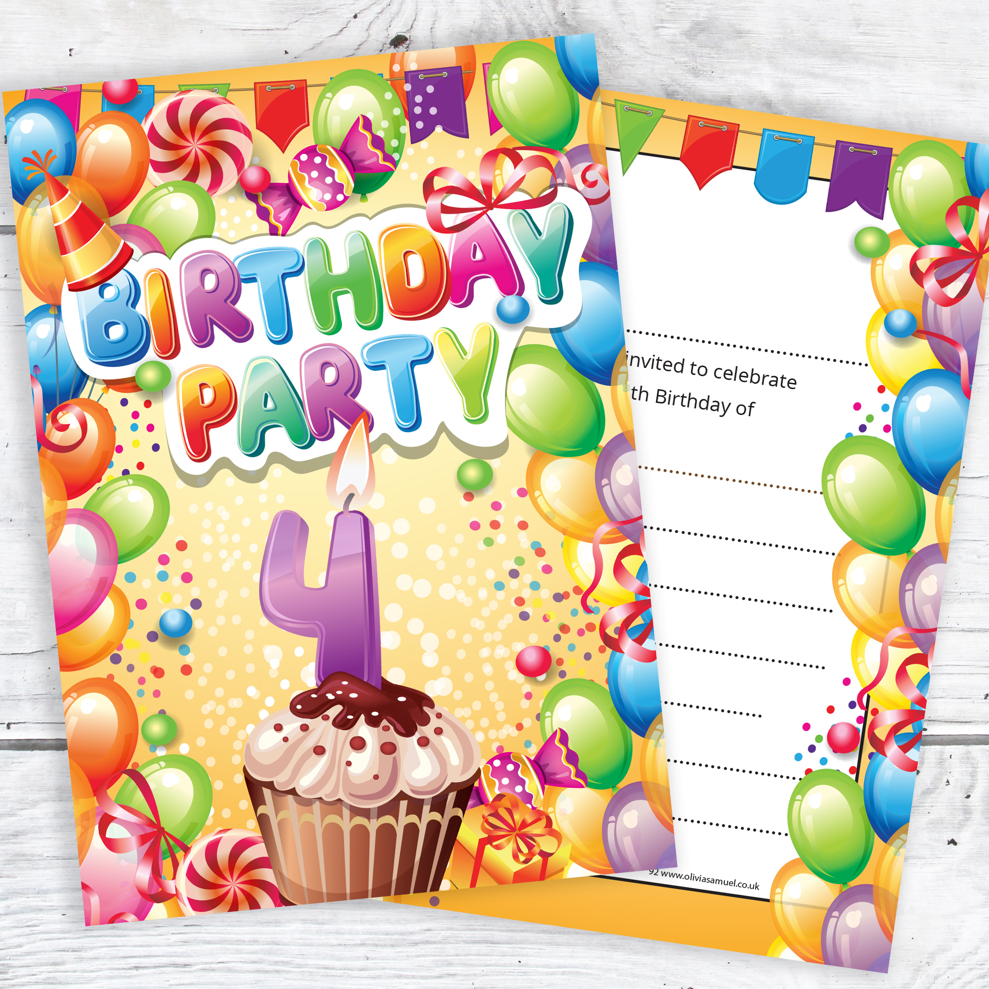Childrens 4th Birthday Party Invites Boy Or Girl Bright Fun