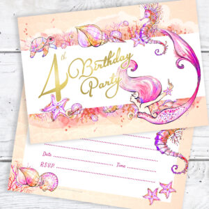 4th Birthday Mermaid Party Invitations Pack 10