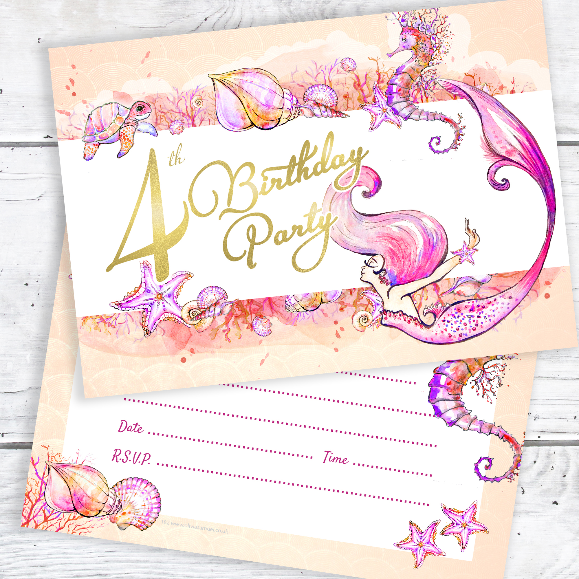 Ready to Write with envelopes Pack 10 4th Birthday Party Candle Invitations