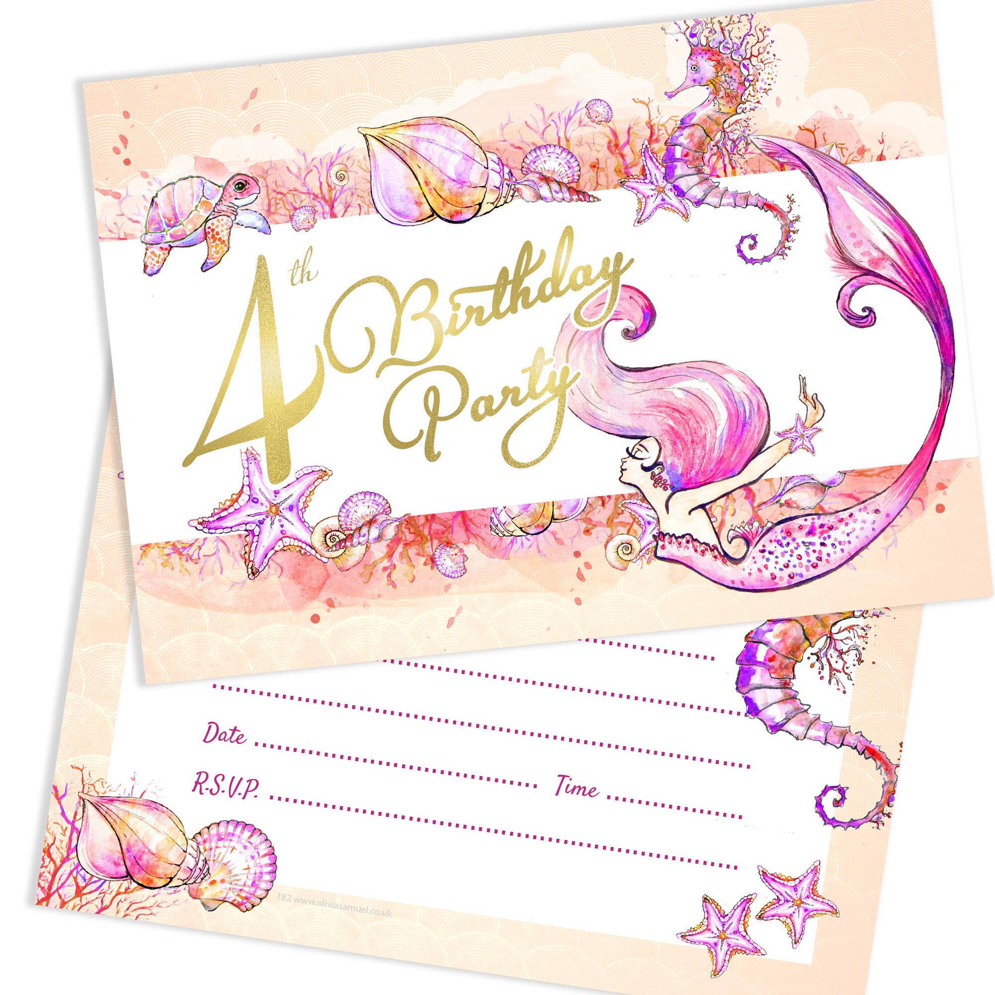 Mermaid 4th Birthday Party Invitations Ready To Write With Envelopes Pack 10 Pink Sparkly