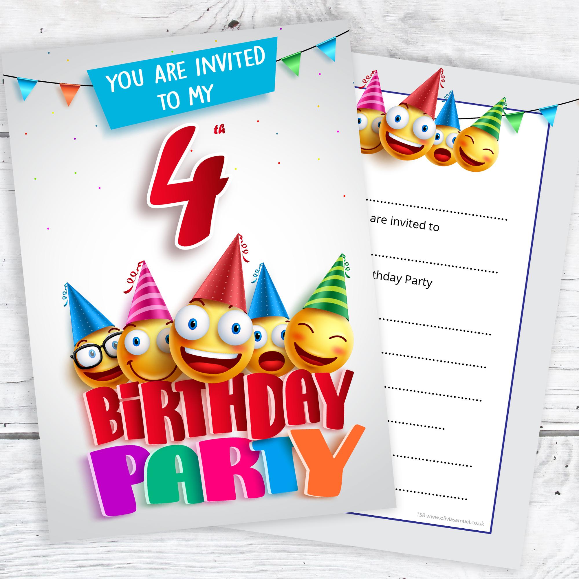 4th birthday party invites emoji style ready to write with 4th birthday party emoji party invitations filmwisefo