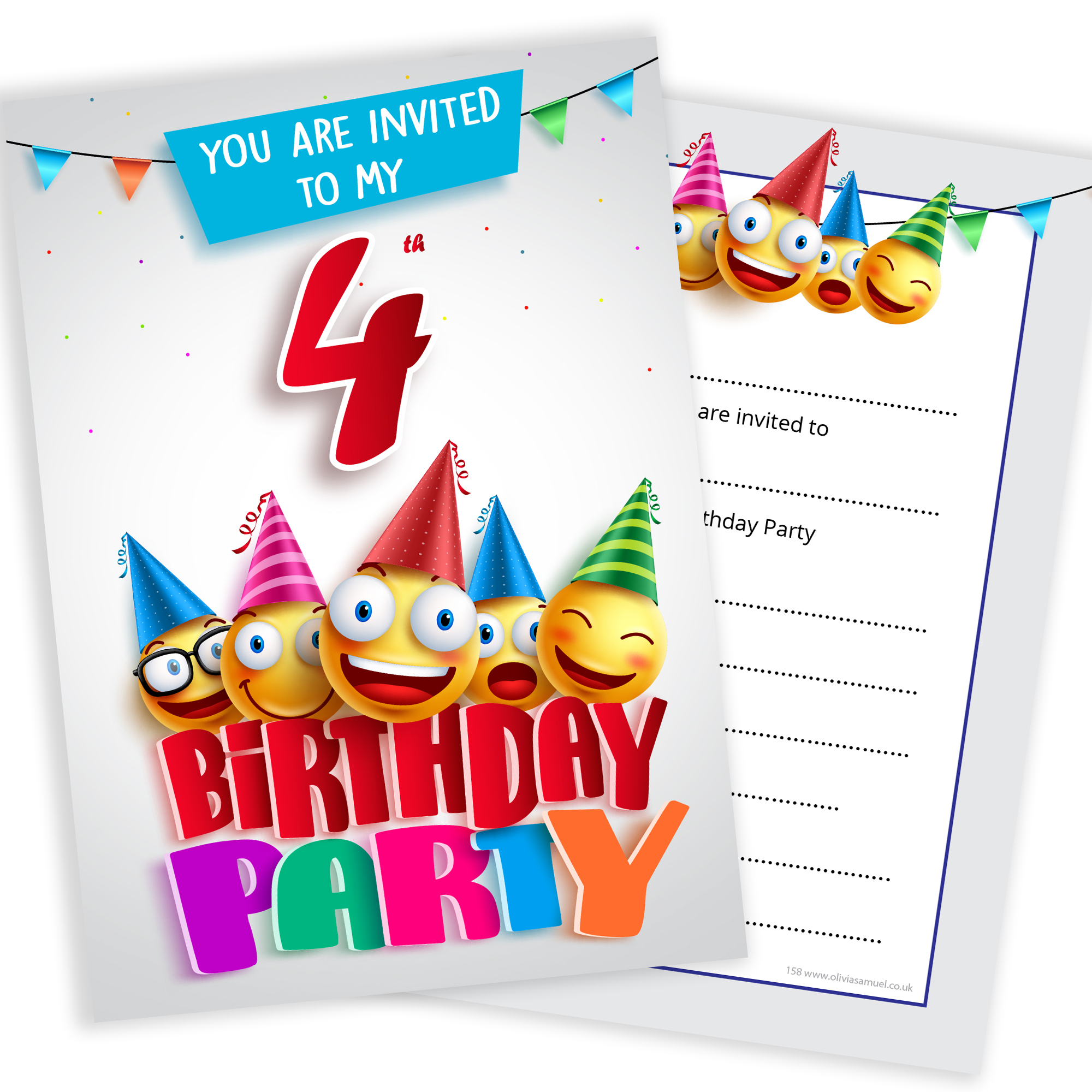 4th Birthday Party Emoji Invitations Home