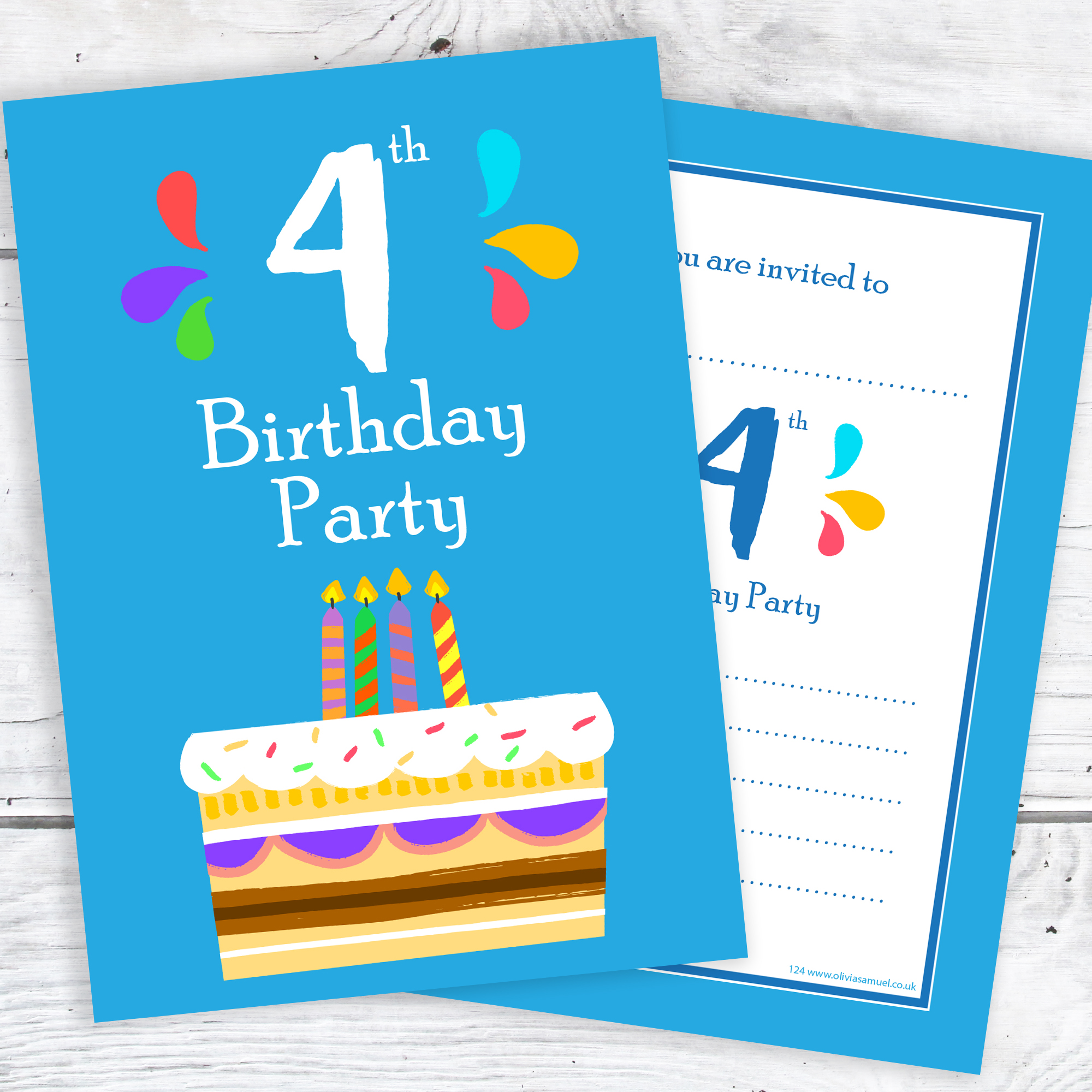4th Birthday Party Invitations 4 Candle Blue Cake Design With Envelopes Pack Of 10