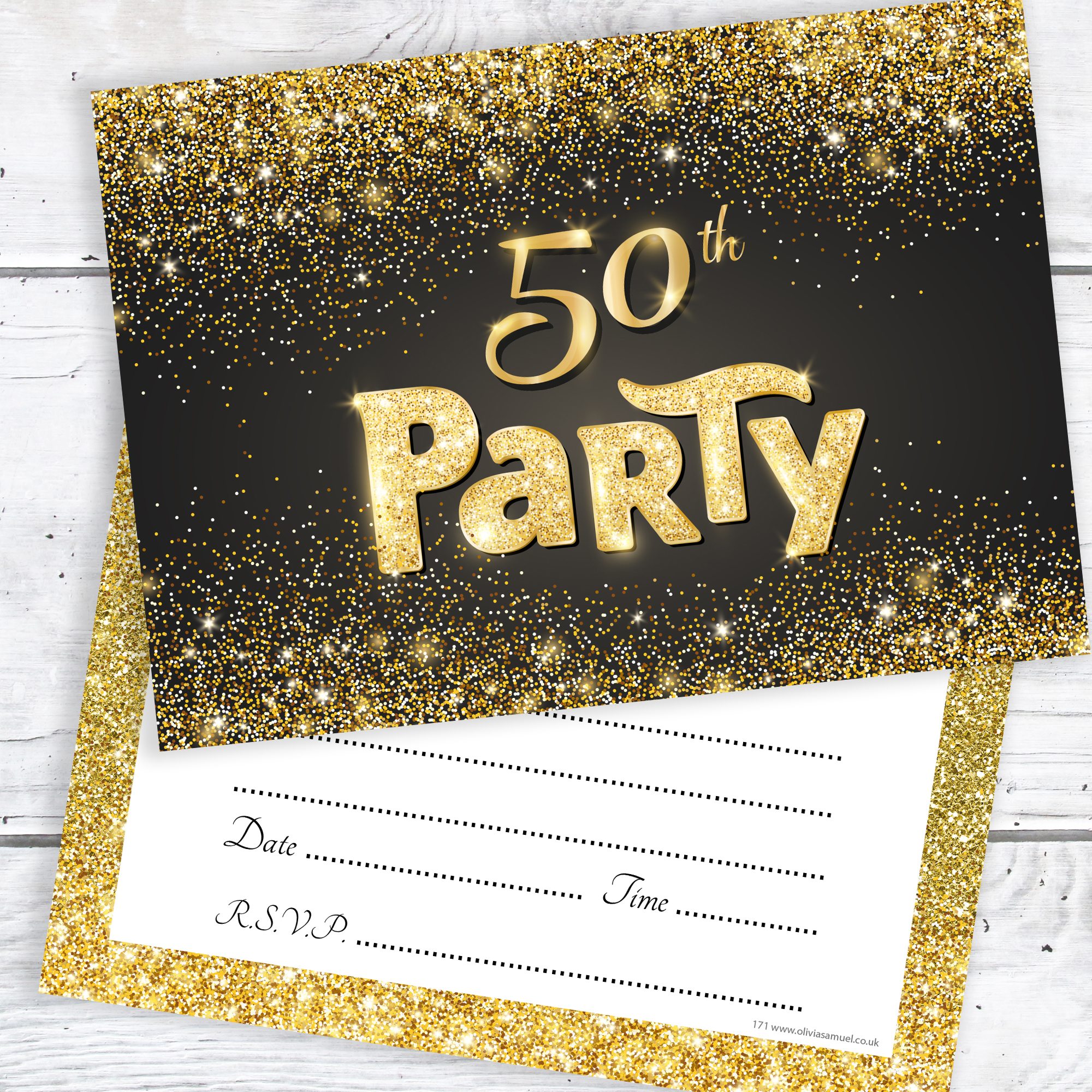 Black And Gold Effect 50th Birthday Party Invitations Ready To Write With Envelopes Pack 10