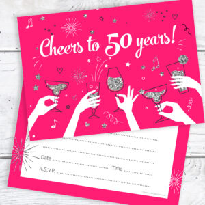 50th Birthday Party Invitations Ladies Pink and Silver