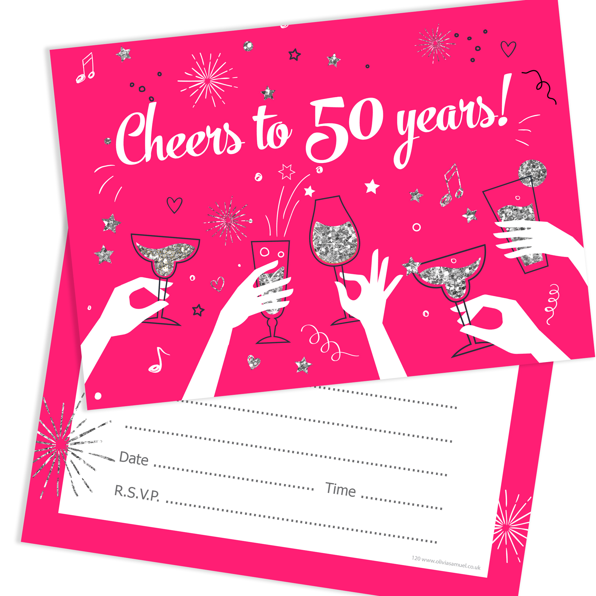 50th Birthday Party Invitations Cheers To 50 Years Ladies Pack 10