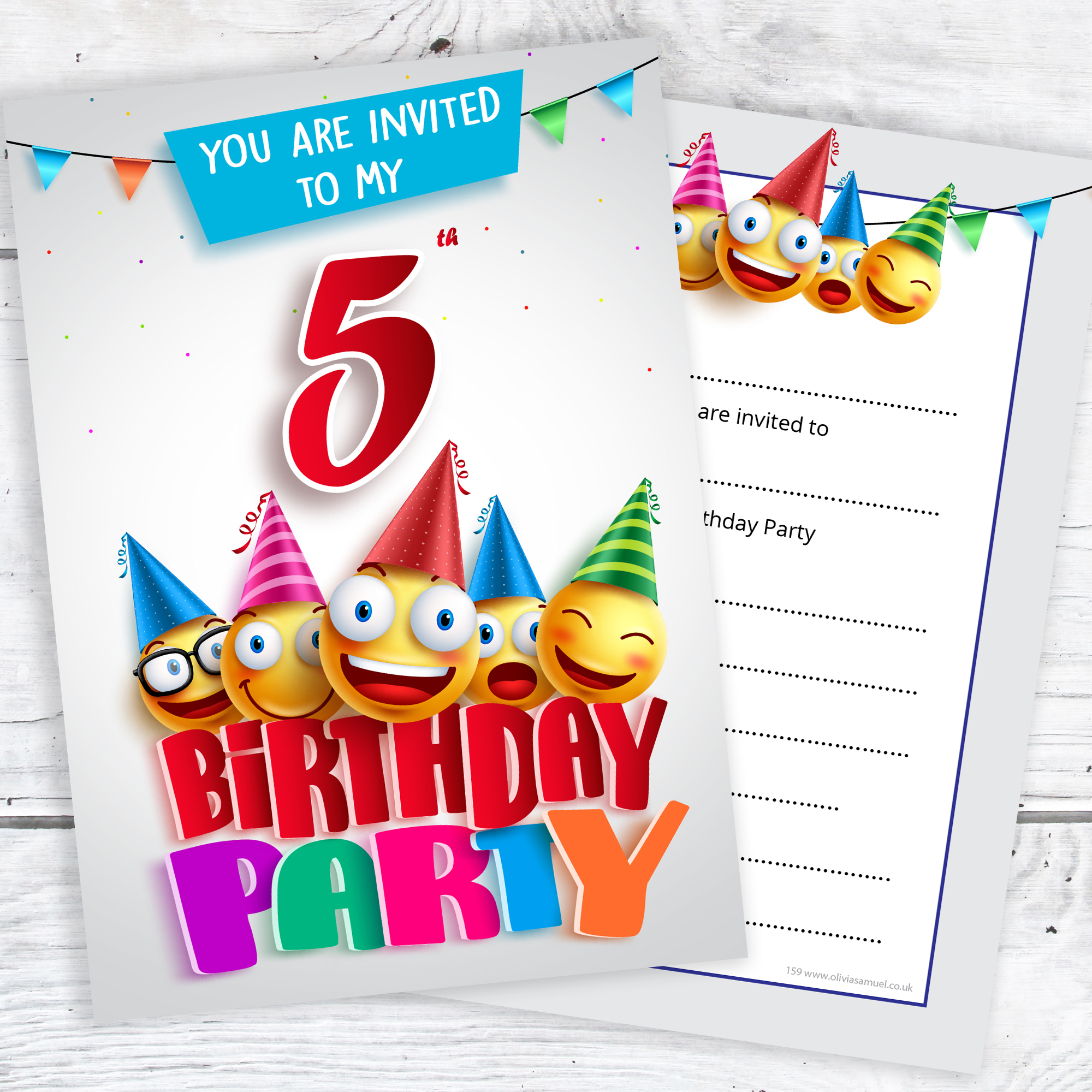 5th Birthday Party Emoji Invitations