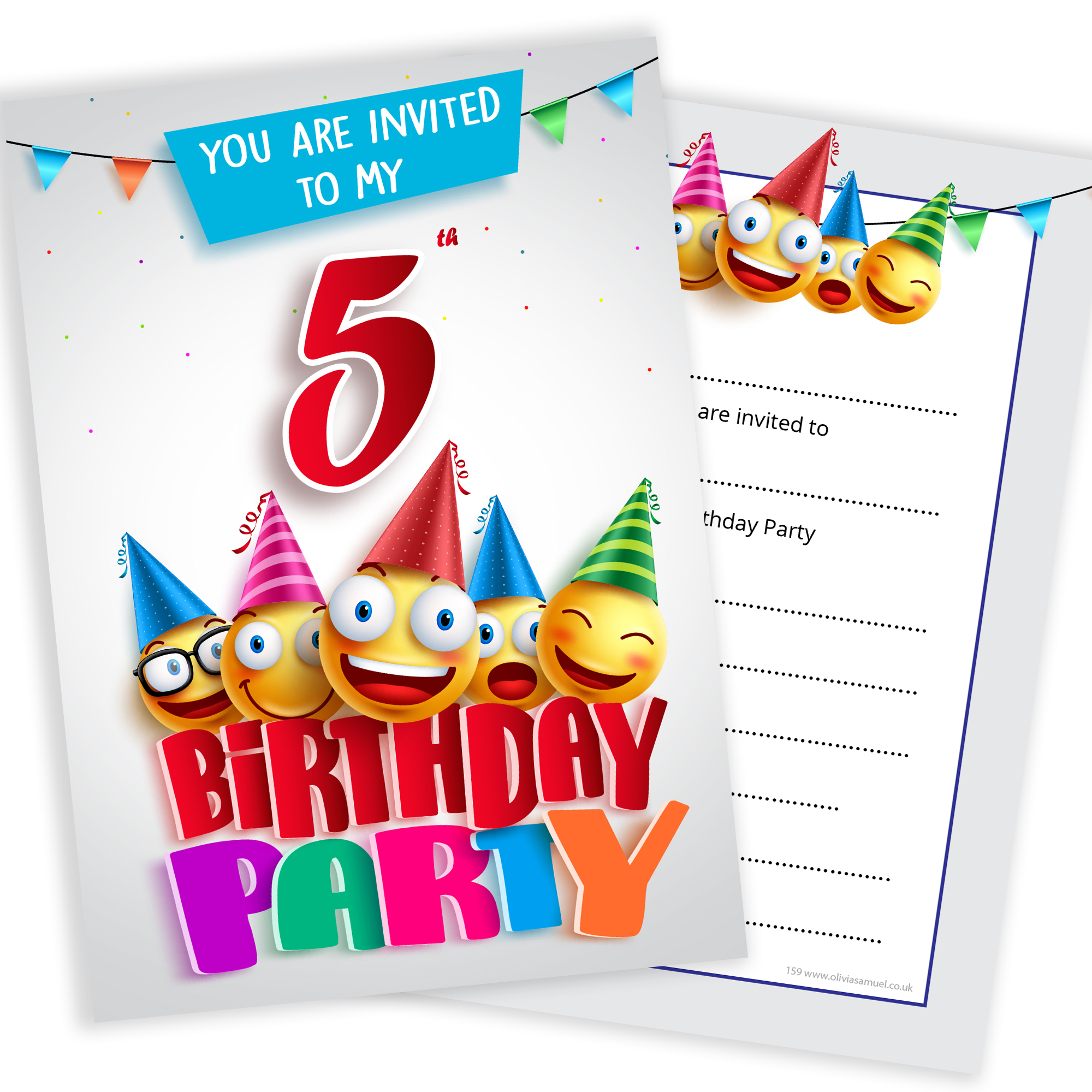5th Birthday Party Emoji Invitations Home