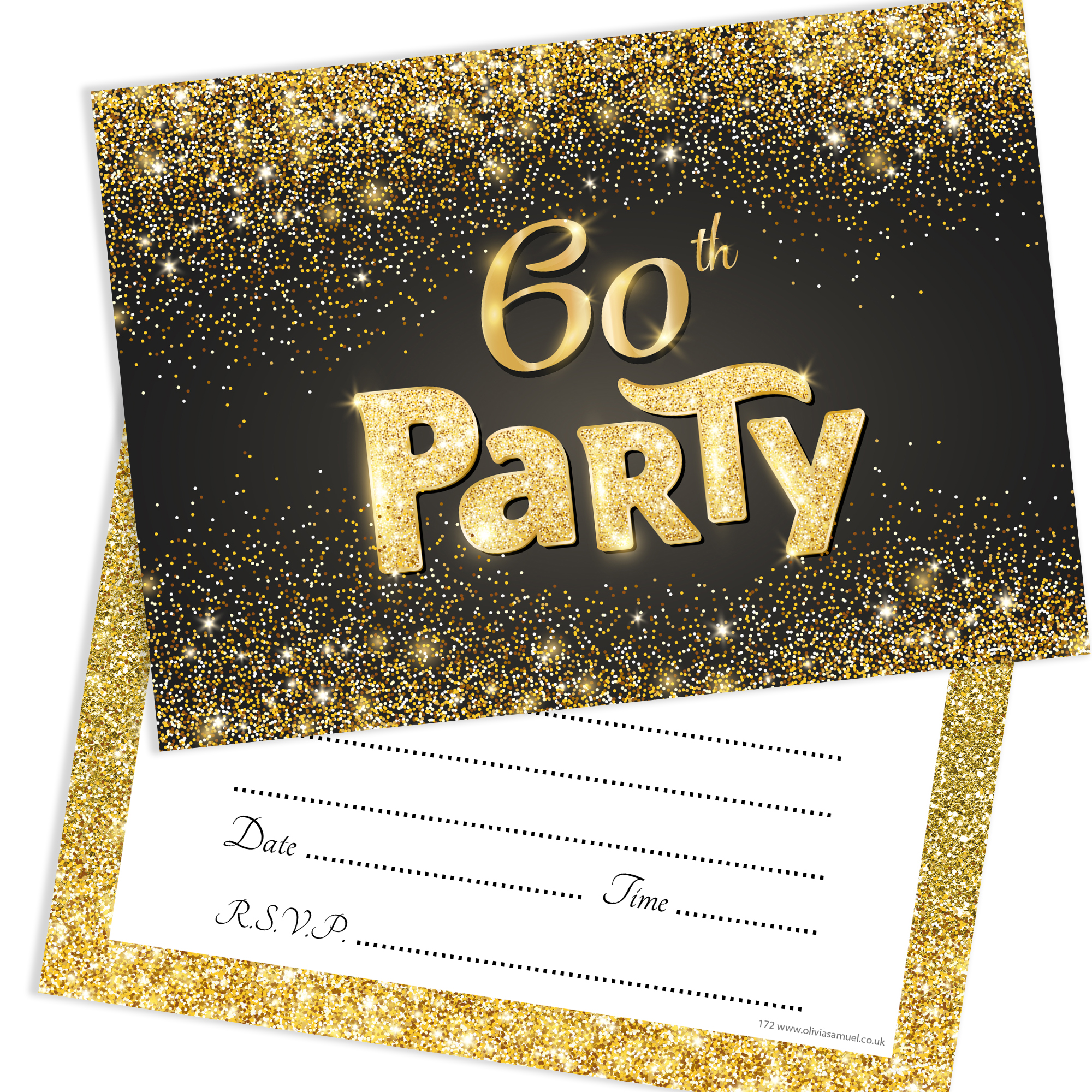 Black And Gold Effect 60th Birthday Party Invitations Ready To Write With Envelopes Pack 10