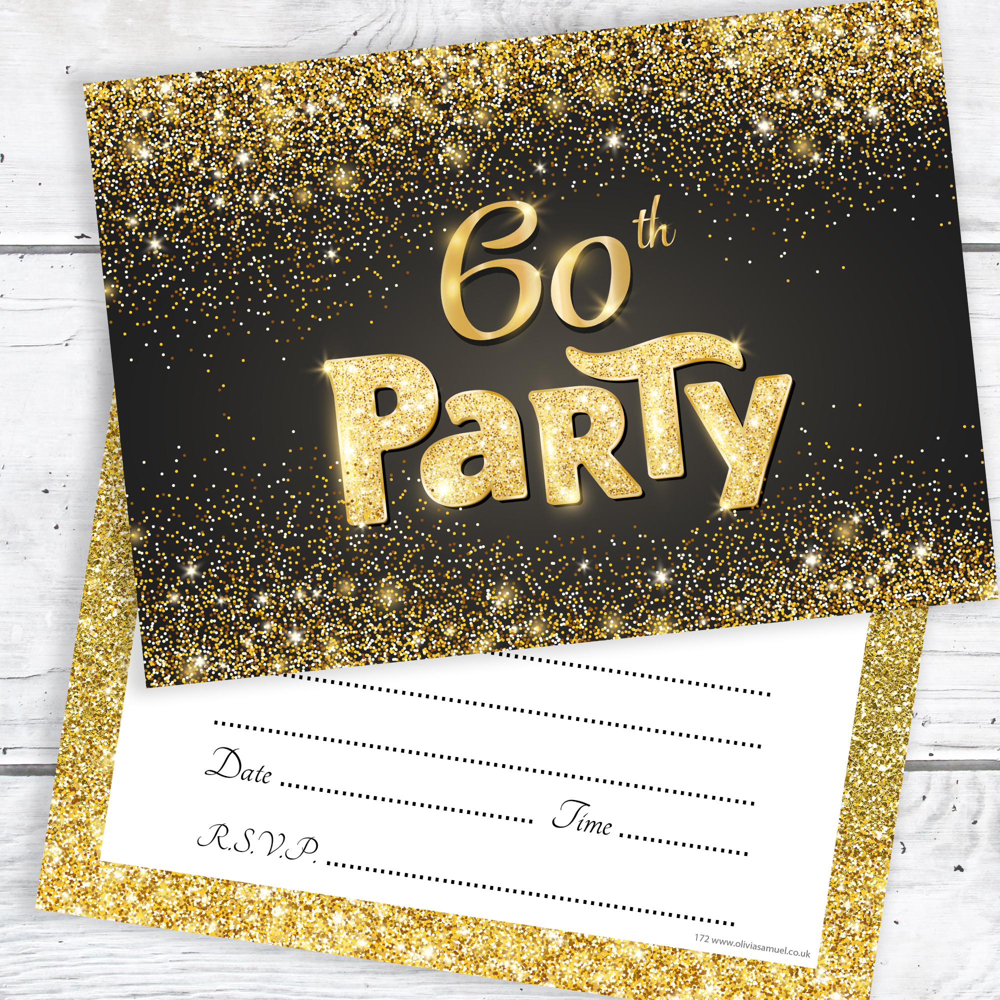 Black and Gold Effect 60th Birthday Party Invitations – Ready to ...