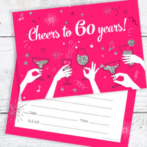 60th Birthday Party Invitations Ladies Pink and Silver