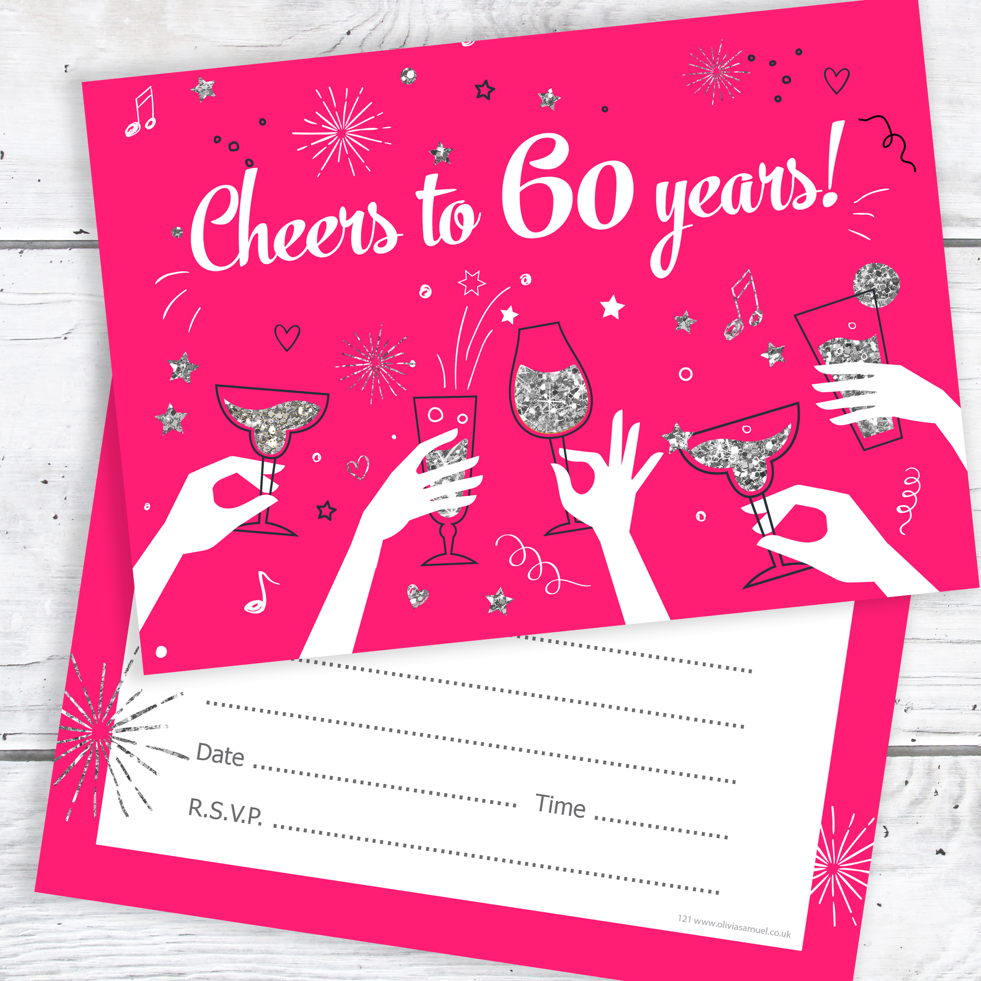 60th Birthday Party Invitations – Cheers to 60 years – Ladies (Pack ...