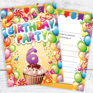 6th Birthday Invitations - Boy or Girl - Ready to Write with Envelopes Pack of 10
