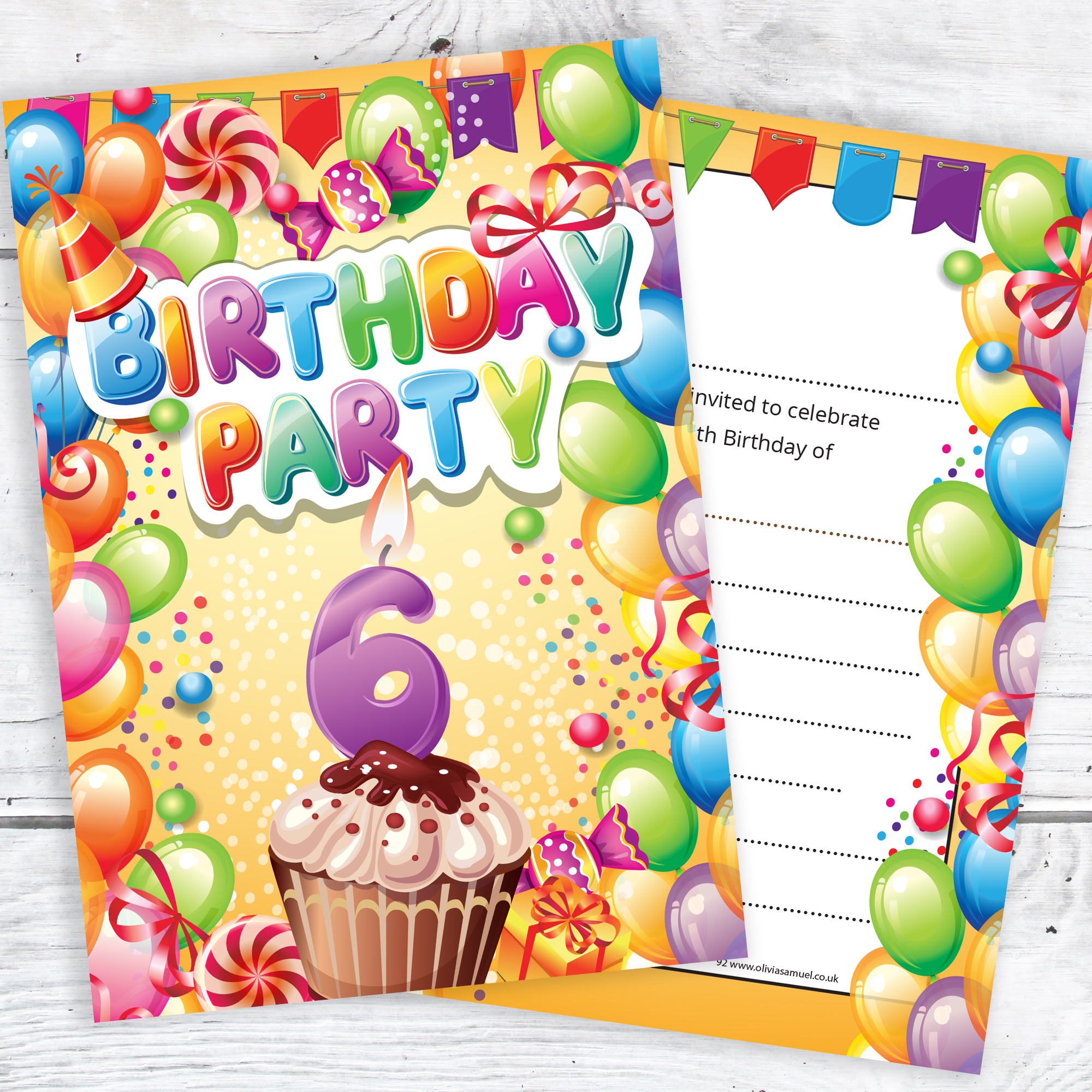 Childrens 6th Birthday Party Invites Boy Or Girl Bright Fun