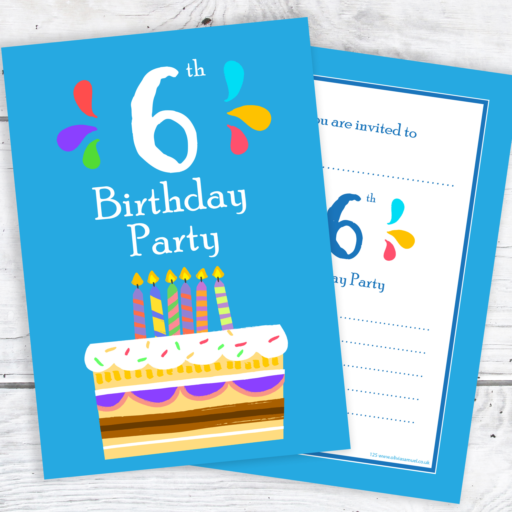 6th birthday party invitations  u2013 6 candle blue cake design