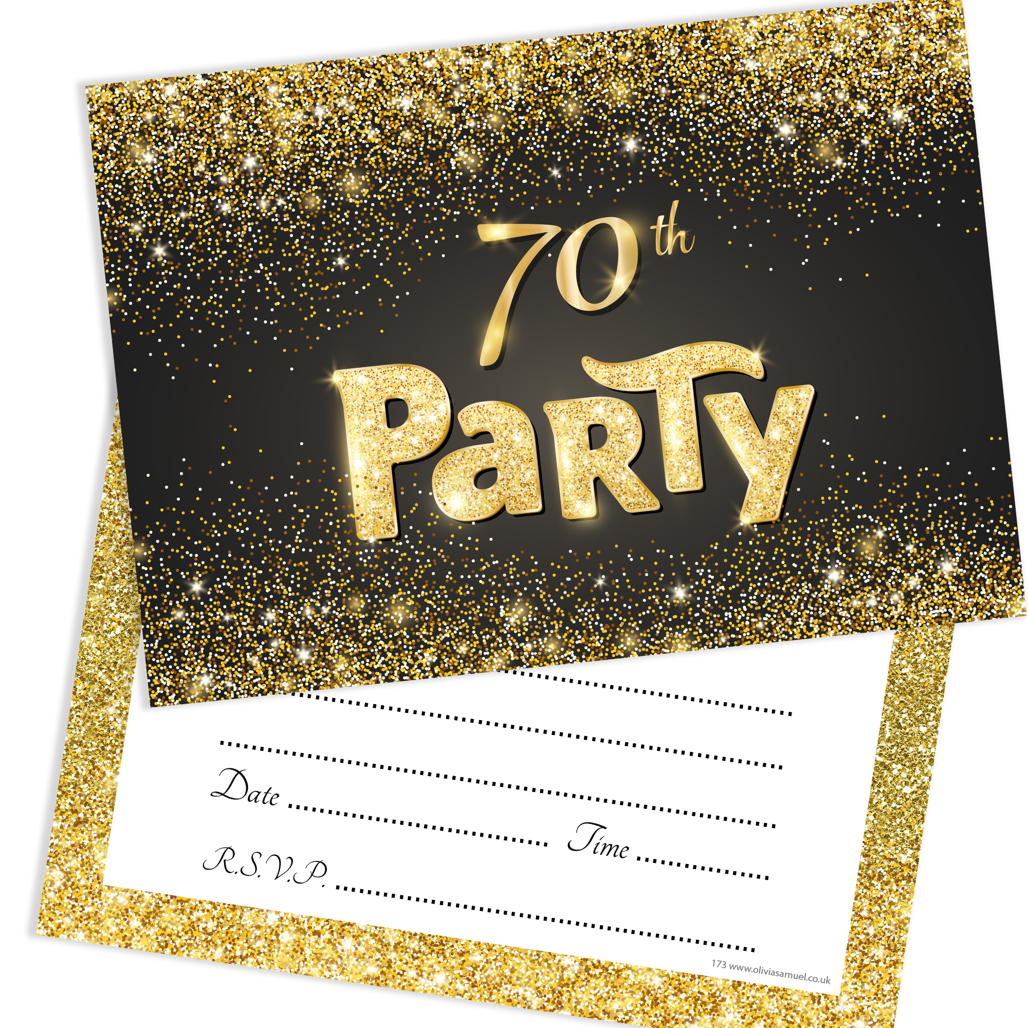 Black and Gold Effect 70th Birthday Party Invitations ...