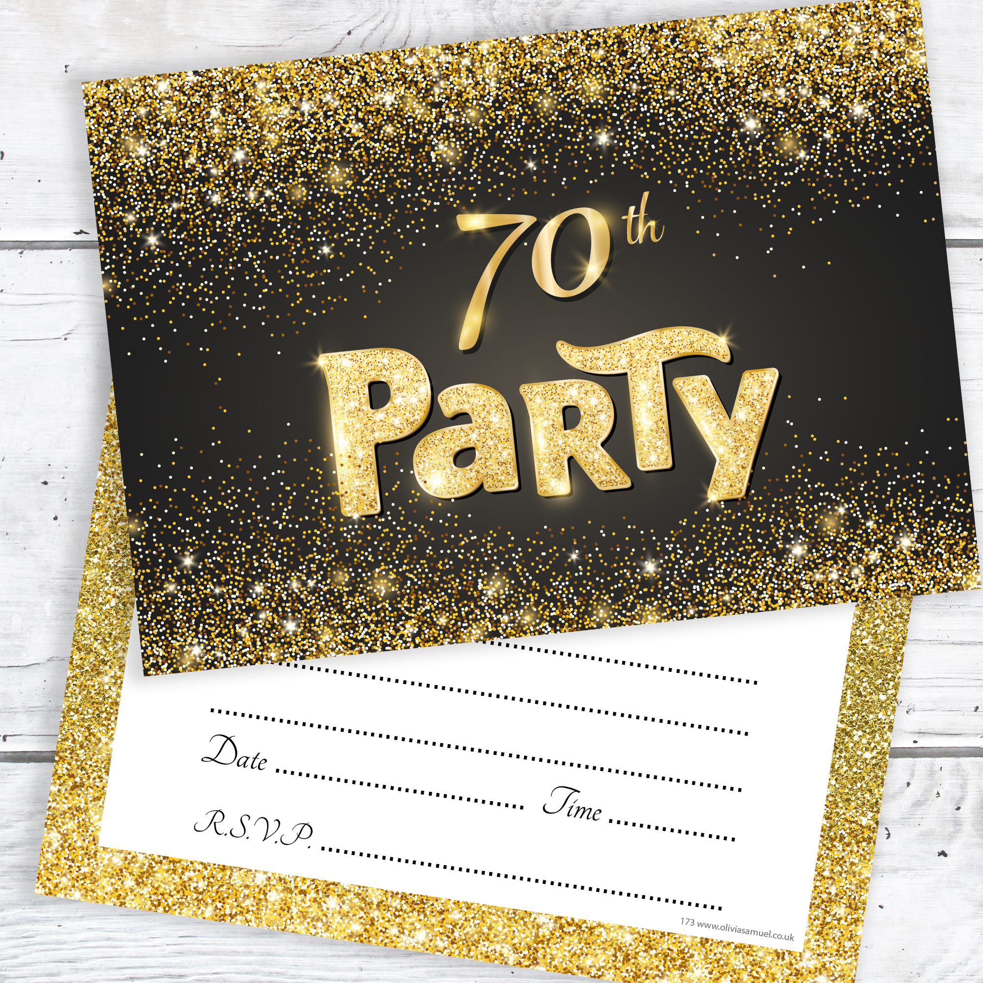 Black and Gold Effect 70th Birthday Party Invitations – Ready to ...
