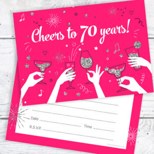 70th Birthday Party Invitations Cheers To 70 Years Ladies Pack 10 Olivia Samuel