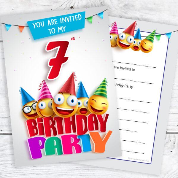7th Birthday Party Emoji Party Invitations