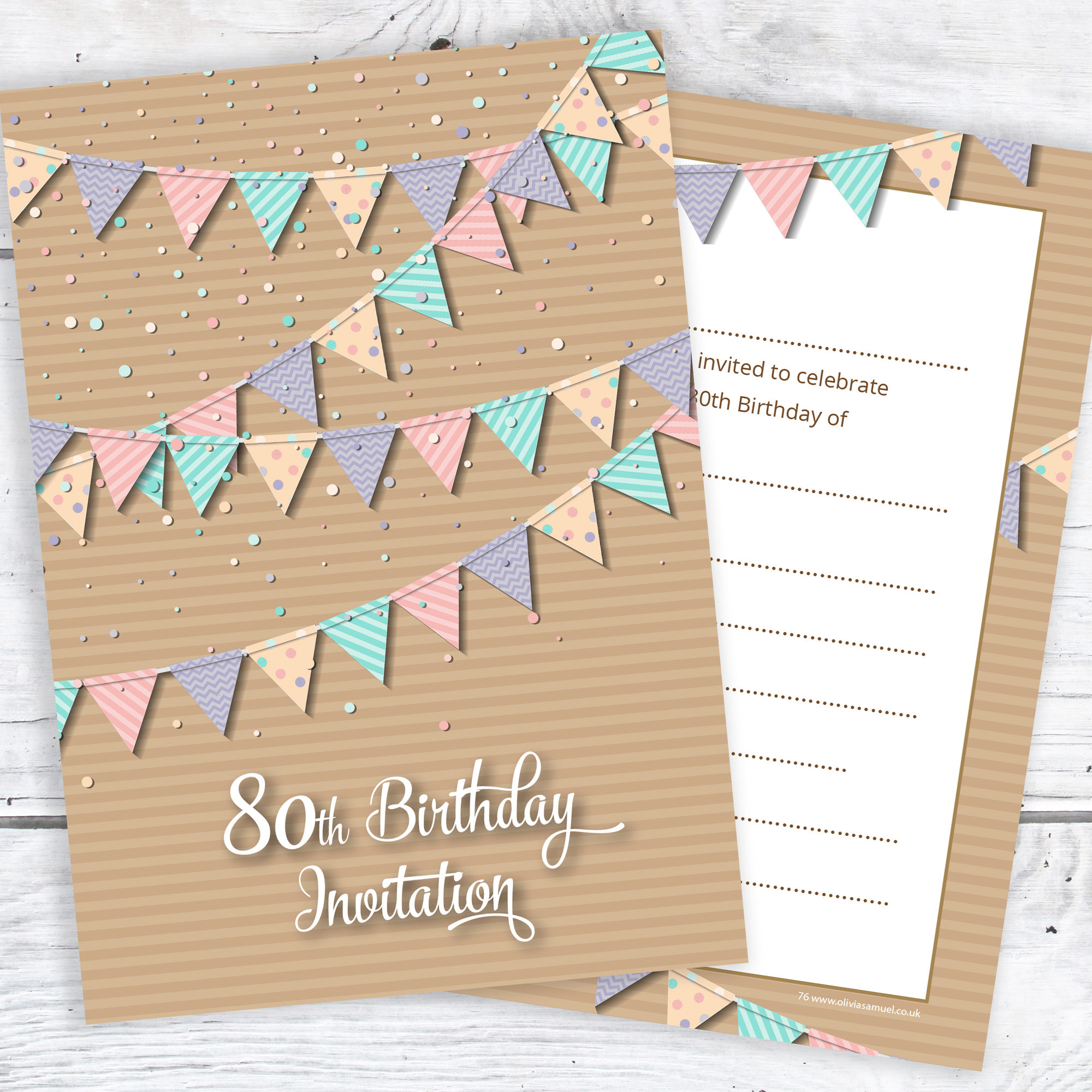 80th Birthday Party Invitations Pastel Bunting Design Postcard Style Ready To Write Pack 10