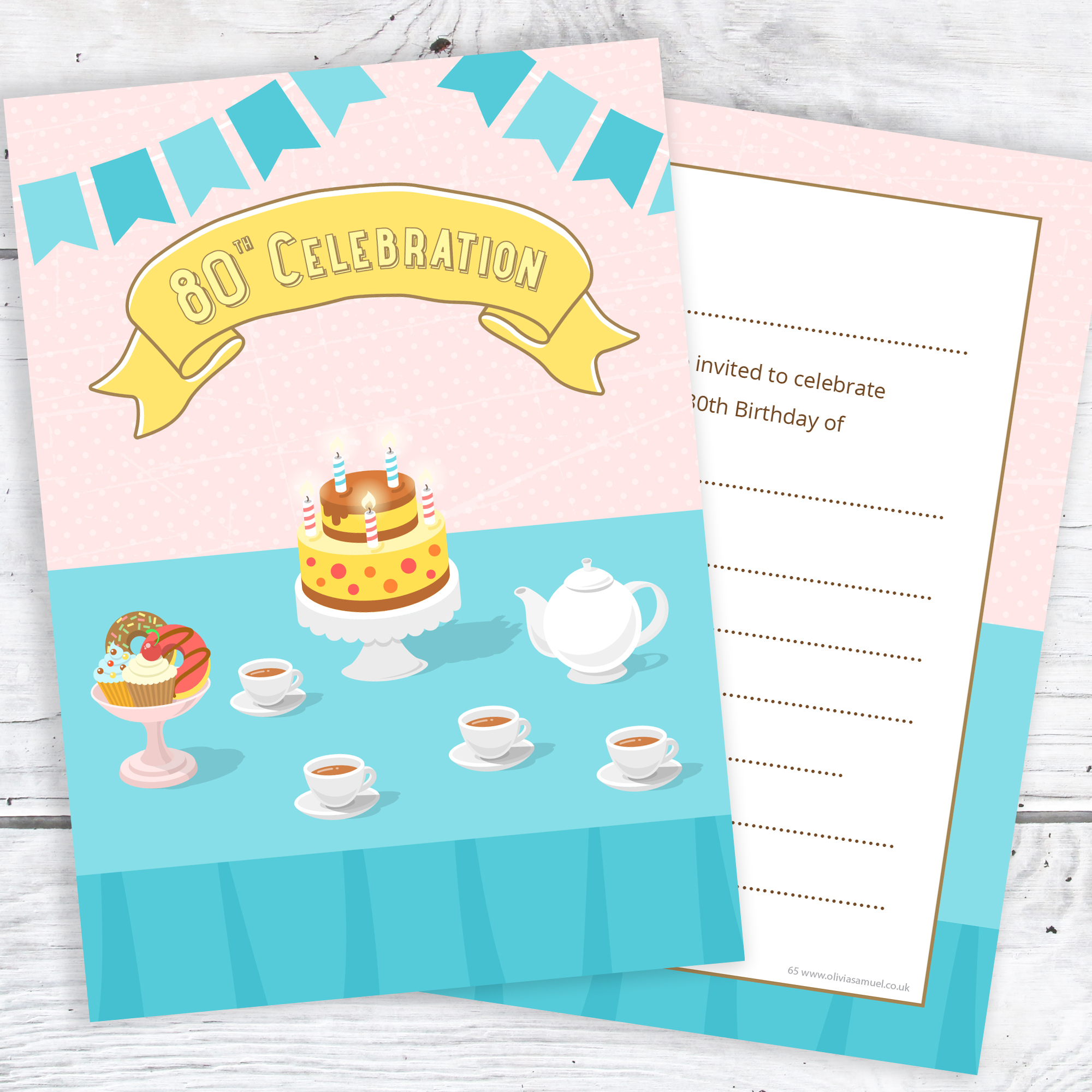 80th Birthday Invitations Ready To Write Tea Party Design Pack Of 10