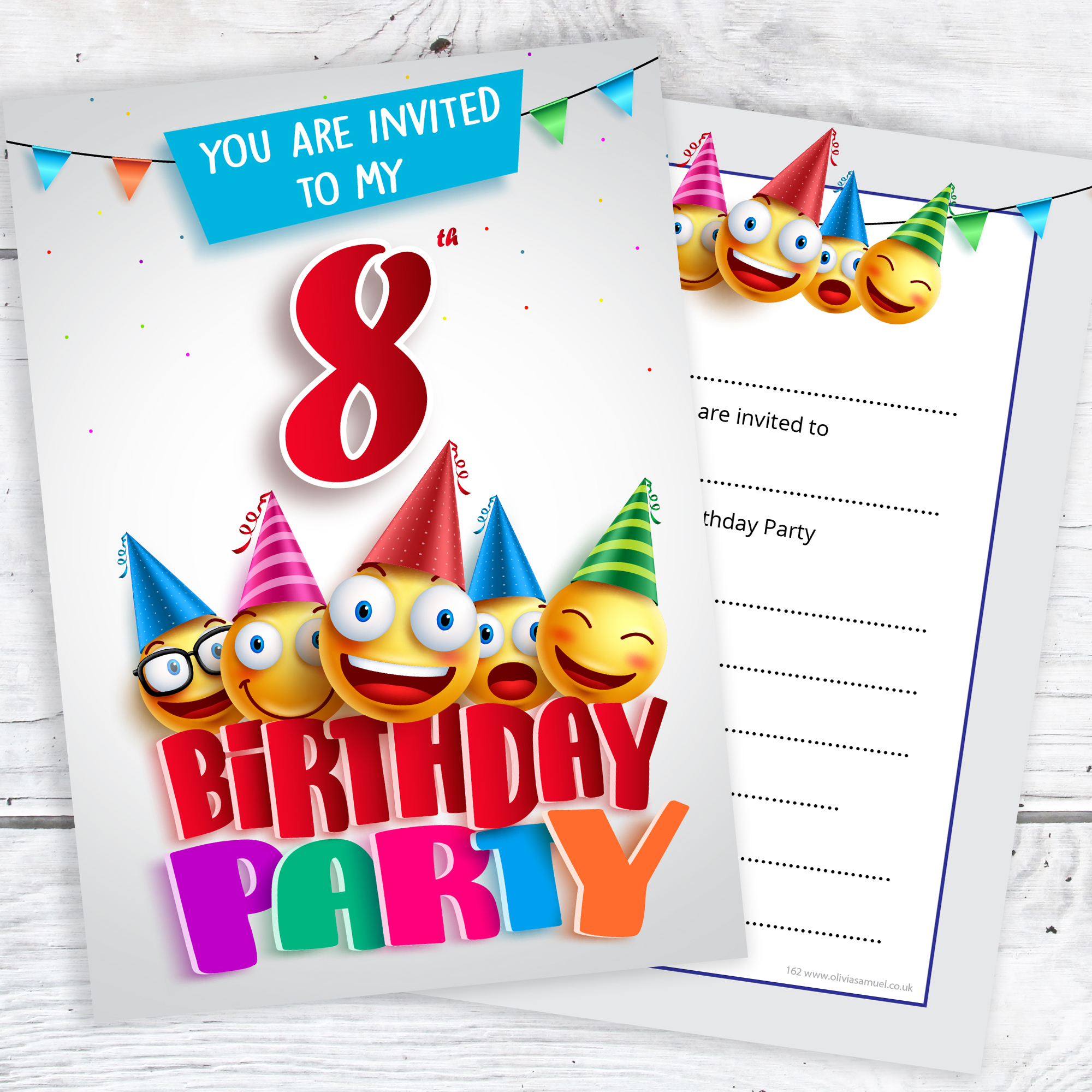 8th Birthday Party Invites Emoji Style Ready To Write With Envelopes Pack 10
