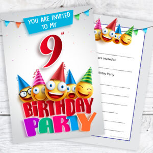 9th Birthday Party Invites Emoji Style Ready To Write With Envelopes Pack 10 Olivia Samuel