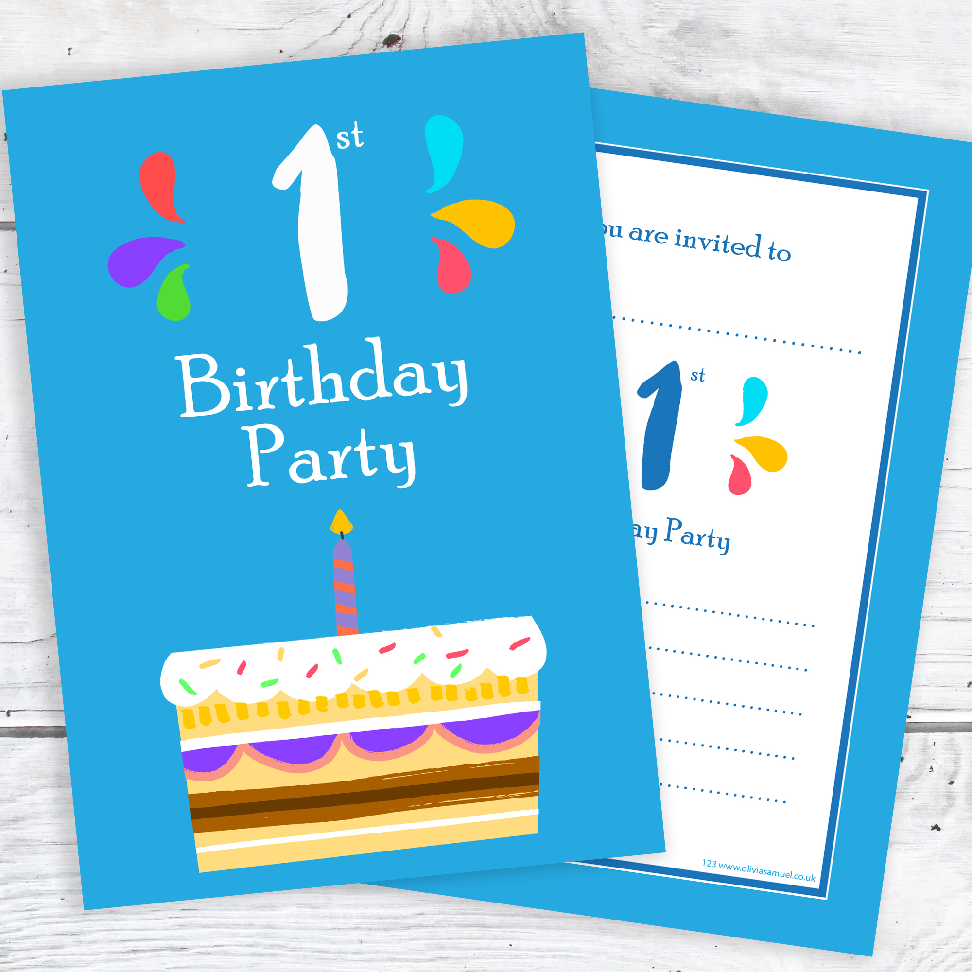 Stupendous 1St Birthday Party Invitations Blue Cake Design With Envelopes Funny Birthday Cards Online Alyptdamsfinfo