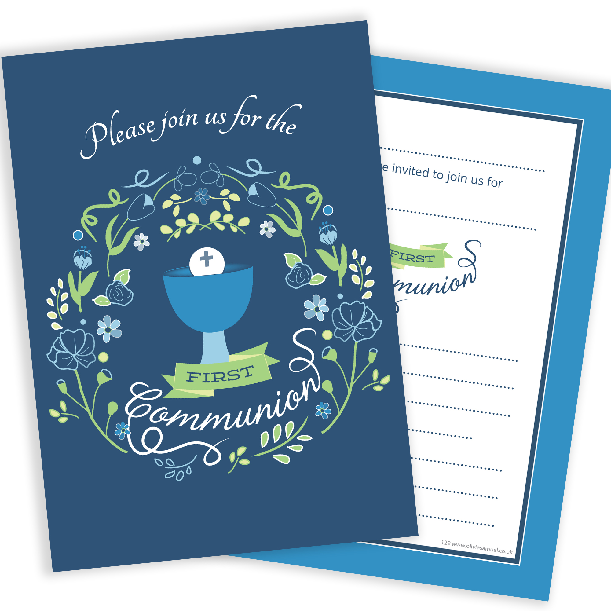 first holy communion invitations boys blue design ready to write